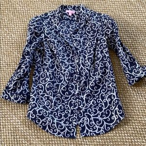 NEW Lilly Pulitzer button-down shirt navy white 6